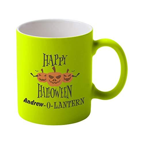 Personalized Custom Text Happy Halloween Ceramic Coffee Tea Neon Mug - Neon Yellow