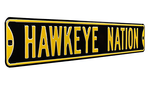 NCAA HAWKEYE NATION-BLACK STREET SIGNSTREET SIGN 팀 색상 36X6