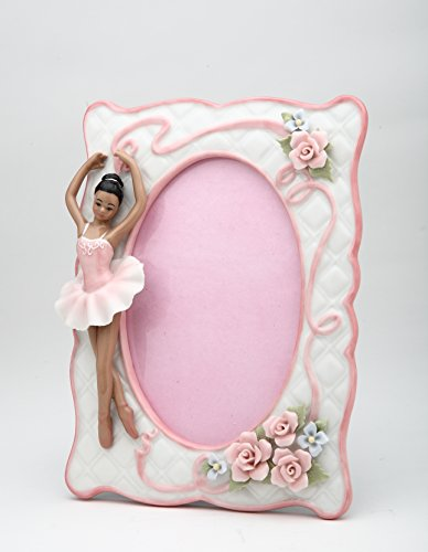 Cosmos Gifts 10608 Porcelain African American Ballerina Ballet Dancer Girl in Pink Tutu Dress Picture Frame, 8