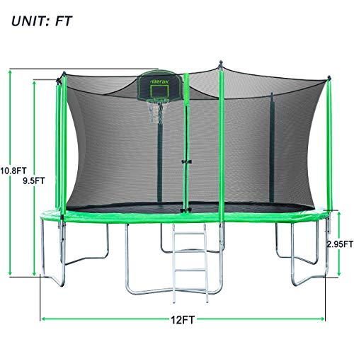 Merax 14FT 12FT Trampoline with Safety Enclosure Net, Basketball Hoop and Ladder - BV Certificated – Basketball Trampoline (12 Feet) by Merax (Image #6)