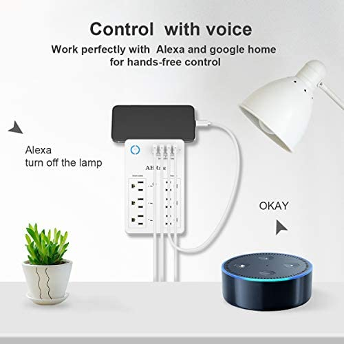 Smart Plug, USB Wall Charger, AHRISE WiFi Surge Protector with 4 USB Ports(4.8A/24W Total), 6-Outlet Extender(3 Smart Outlets), Compatible with Alexa Google Assistant for Voice Control