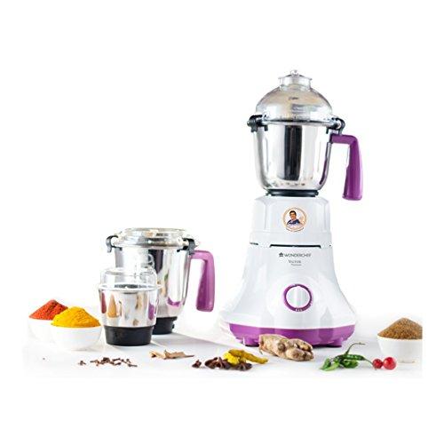 Wonderchef Victor Premium 750 Watt Mixer Grinder with 3 Jars  White/Purple