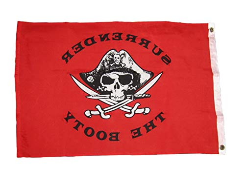 Hebel Surrender The Booty Red Pirate Flag Ship Banner Jolly Roger Pennant New 2x3 FT | Model FLG - 916