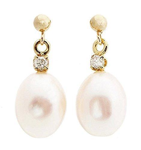 Pearl earrings studs-Pearl earrings bridesmaid-Pearl diamond earrings-Pearl jewelry-Bridal earrings-Anniversary gift-birthday present