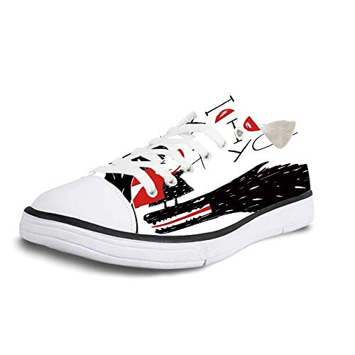 Canvas Sneaker Low Top Shoes,Quirky Decor Little Red Riding Hood Loves Bad Horrible Wolf Plot Twist Fairytale Art Man ()