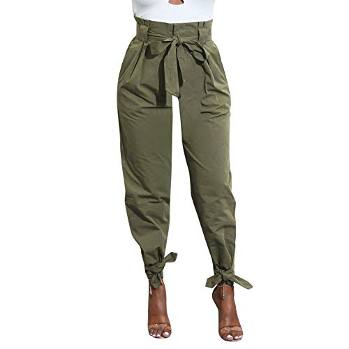POQOQ Pants Paper Bag Women's Trouser Slim Belted High Waist Trousers M Army Green