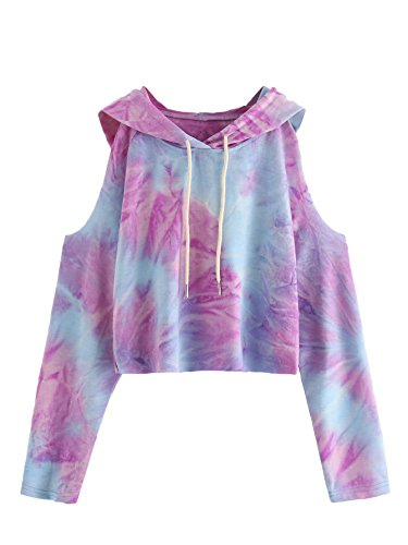 SweatyRocks Women's Cold Shoulder Tie Dye Pullover Hoodie Crop Top Sweatshirt S (Terry Hooded Top)