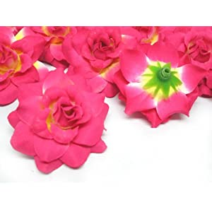 """(24) Silk Hot Pink Roses Flower Head - 1.75"""" - Artificial Flowers Heads Fabric Floral Supplies Wholesale Lot for Wedding Flowers Accessories Make Bridal Hair Clips Headbands Dress 2"""