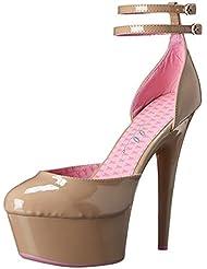 6 Inch High Heel Sandals Breast Cancer Awareness Beige Dorsay Platform Pumps