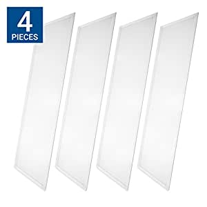 Hyperikon LED Troffer 2x4 Ft Panel Edge-Lit, Dimmable, 50W (200W Equivalency), 4000K Day Light, 6250 Lumens, Drop Ceiling Light, UL & DLC – Pack of 4