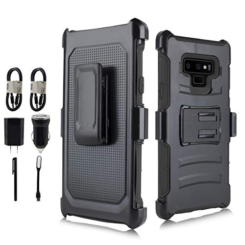 Compatible Galaxy Note 9 - Belt Clip Holster - Kickstand - Heavy Duty Protection Rugged Armor Full Body Case Samsung Galaxy Note 9 (2018) [Value Bundle] (Black)