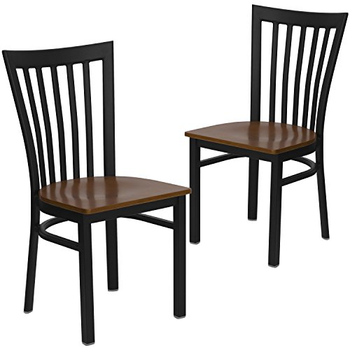 Schoolhouse Chairs Restaurant (Flash Furniture 2 Pk. HERCULES Series Black School House Back Metal Restaurant Chair - Cherry Wood Seat)