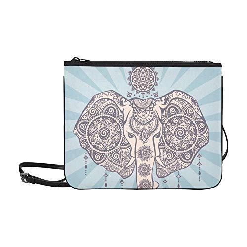 Vintage Graphic Indian Lotus Ethnic Elephant Pattern Custom High-grade Nylon Slim Clutch Bag Cross-body Bag Shoulder ()