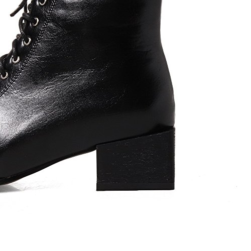 AgooLar Women's Velvet?Lining Square-Toe Low-Heels Lace-up Solid Boots Black gZWK8Pcx