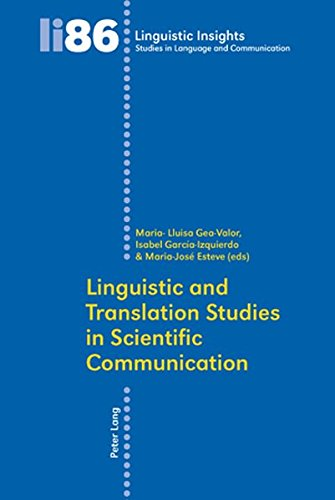 Linguistic and Translation Studies in Scientific Communication (Linguistic Insights) by Peter Lang AG, Internationaler Verlag der Wissenschaften