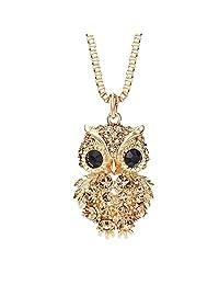 Neoglory Jewelry Made with Swarovski Elements Crystal Fashion Owl Pendant Necklace Women Girls