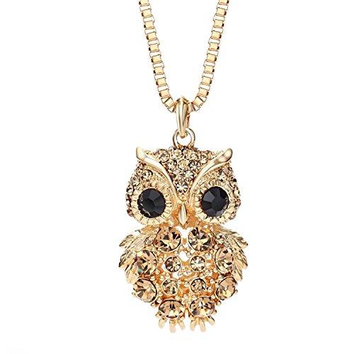 Neoglory 14K Gold Plated Rhinestone Owl Adjustable Long Pendant Necklace for Women Girl 32