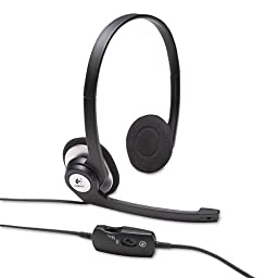 Logitech Products - Logitech - ClearChat Binaural Behind-the-Ear PC Audio Headset - Sold As 1 Each - Noise canceling microphone. - Rotating, flexible microphone boom. - In-line volume/mute controls; LED mute indicator. - Adjustable, padded headband; plush