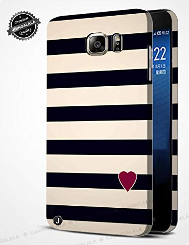 Jhingalala ® Black Pattern with Heart Design Printed Mobile Back Case Cover for Samsung Galaxy S6 Edge