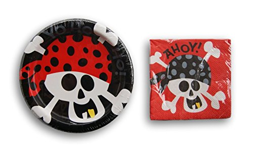 Pirate Party Supply Kit - Beverage Napkins and Dessert Plates -