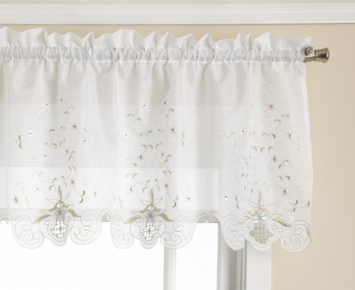 Today's Curtain Sunshine Semi Sheer Reverse Embroidery 18-Inch Valance Tailored, White/Blue
