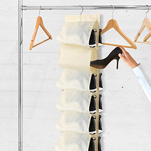 BigOtters Hanging Shoe Organizer, 12 Pockets Closet Shoe Rack with 1PCS Wall Mounted Shoes Rack for Closet Door Home Shoe Organizer Holder Storage