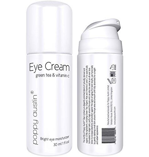 Beste Augencreme für Augenringe, Schwellungen & Fältchen von Poppy Austin® - Riesig 30 ml - 100% Biologische Antialterung Augenbehandlung - Mit Grünem Tee, Vitamin C, Hagebutte & Bio-Jojobaöl