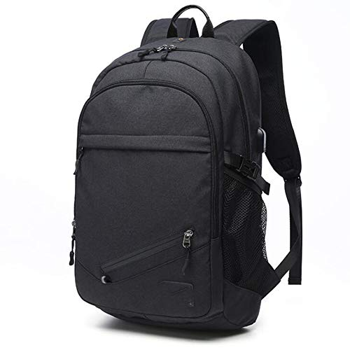 JITALFASH Laptop Backpack Canvas Men USB Backpack School Bags For Teenager Ball Bag Multifunction Travel Rucksack Black 17inch