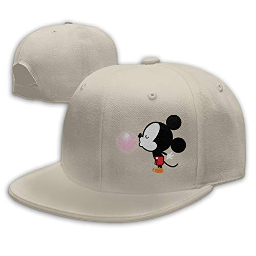 Buecoutes Balloon Mickey Mouse Flat Visor Baseball Cap, Fashion Snapback Hat Natural -