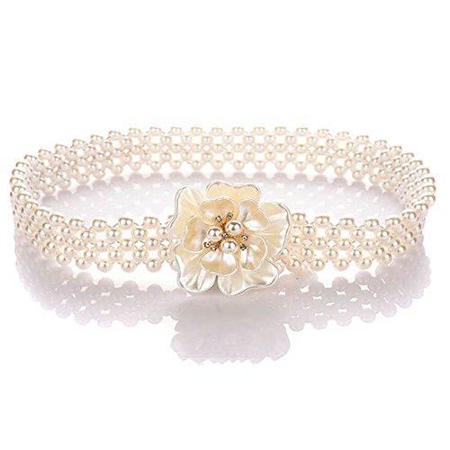 HF Pearl Waist Belt for Women for Dresses Diamond Waist Chain Rhinestone Buckle Crystal Bridal Belts Applique Evening Party Prom Dress Decoration Best Gift (flower) (White Buckle Rhinestone)