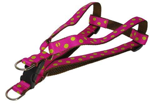 Sassy Dog Wear 18-24-Inch Fuchsia/Lime Dot Dog Harness, Medium
