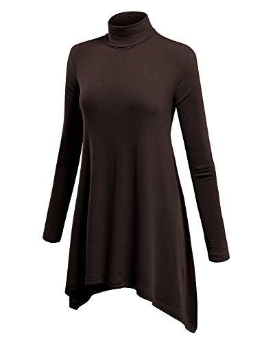 (WT994 Womens Turtleneck Sweater Tunic With Shark Hem M Brown)