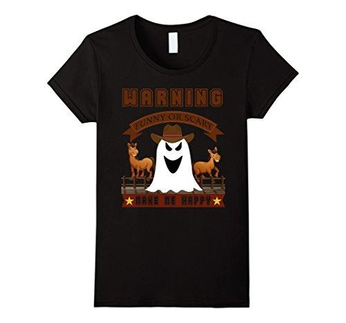 Halloween Costume Ideas Scary Female (Womens Cowboy T-shirt Halloween Funny or Scary costume ideas shirt Large Black)