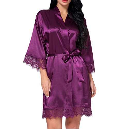 Charmeuse Robe - SexyTown Women's Short Satin Lounge Robes Bridesmaids Charmeuse Lingerie Sleepwear (X-Large, Purple Lace)