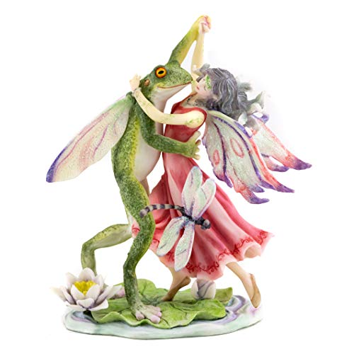 Top Collection Fairy Dancing with Frog Prince Statue - Hand Painted Collectible Jody Bergsma Sculpture with Colored Accents- 8-Inch Magical - Prince Statue Frog