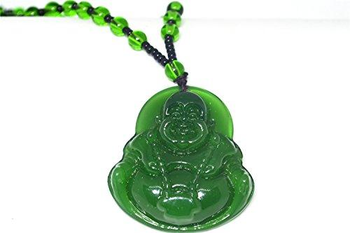 (Natural Green Hand-carved Buddha Jade Pendant)