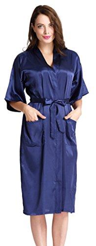 Aibrou Damen Morgenmantel Satin Robe Nachtwäsche Bademantel Kimono Negligee Seidenrobe Schlafanzug lang
