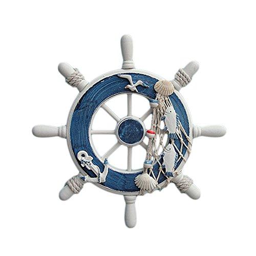 Gaosaili Home Nautical Wall Marine Decor Wood Pirate Ship Helm Wheel