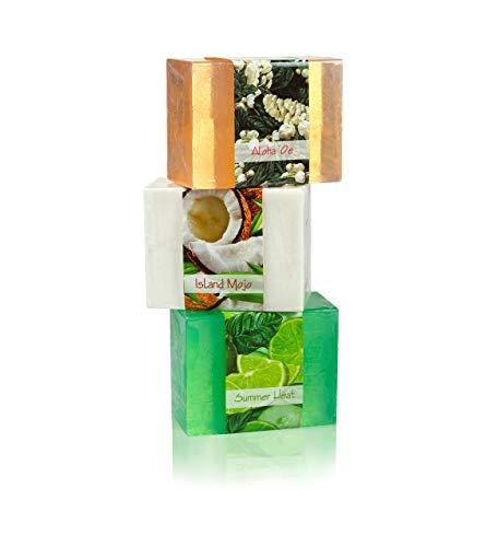 Full Bloom Vegetable Glycerin Bar Soap, 3 Bar Sampler Set # 4, Aloha 'Oe, Island Mojo, Summer Heat, 4.5oz/127.5g each