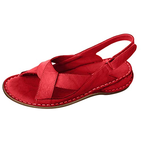 (Cenglings Women's Open Toe Cross Strap Twist Summer Hollow Out Wedge Buckle Sandals Casual Flat Beach Shoes Red)