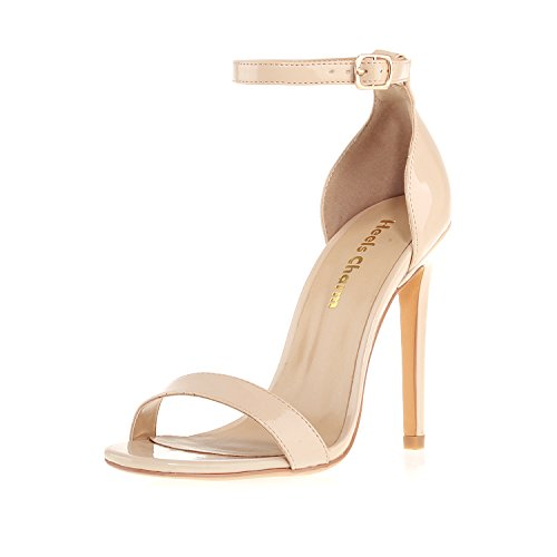 Women's Heeled Sandals Buckled Ankle Strap Dress Sandals Stilettos Open Toe High Heel for Wedding Party Evening Shoes Patent Leather Nude size 5