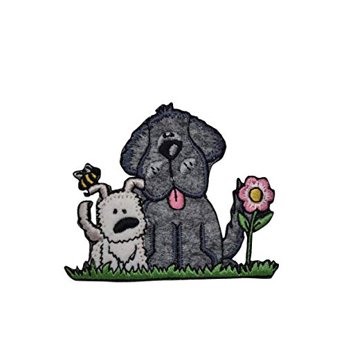 - Two Puppy Dogs with Flower - Pets - Iron on Applique/Embroidered Patch