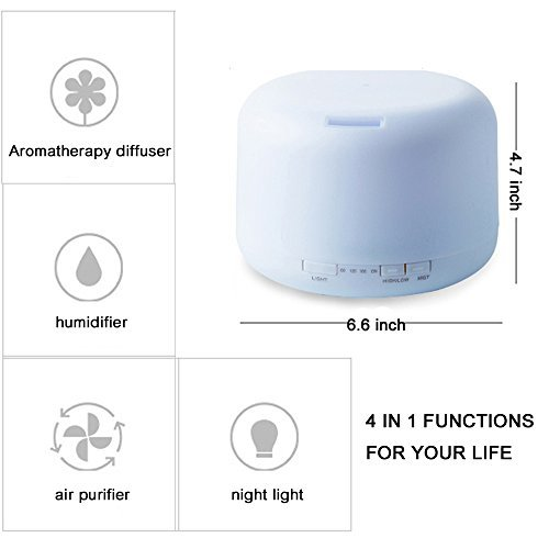500ml Essential Oil Diffuser, WGIA Ultrasonic Aroma Cool Mist Humidifier Portable Fragrant Aromatherapy Diffuser with 7 Changing Colored LED Lights, Great for Home Office Yoga Spa