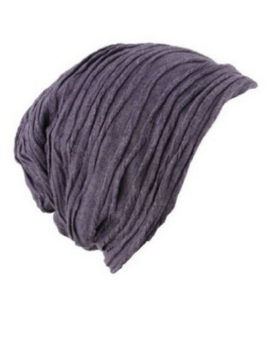 NYFASHION101 Slouch Wrinkled Beanie Cap Slouchy Skull Hat, Purple Slouch Hat Cap