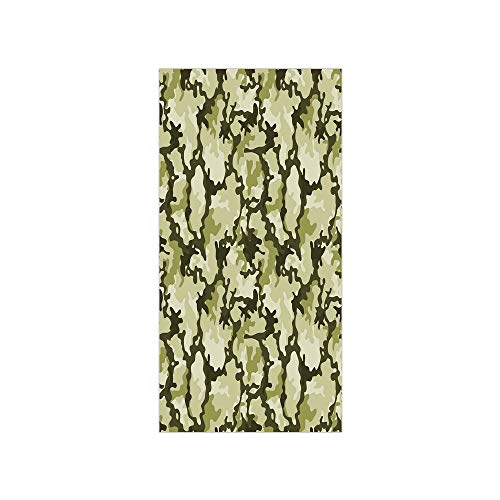 3D Decorative Film Privacy Window Film No Glue,Camo,Pattern in Green Shades Army Background Woodland Wild Nature,Light Green Dark Green Pale Green,for - Tint Camo Window