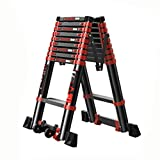 LJSJT Multifunctional Telescopic Ladder Type A Ladder Aluminum Alloy Non-Slip Pedal Portable Pulley