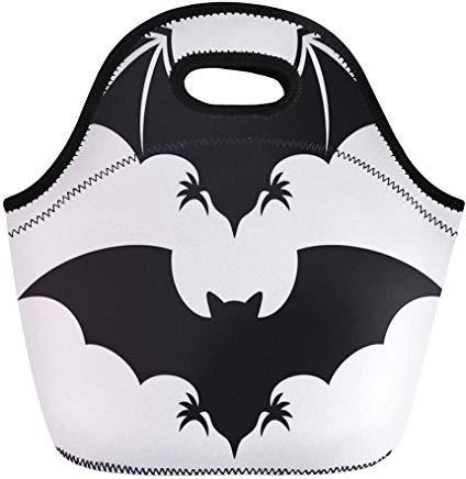 Vontuxe Insulated Lunch Tote Bag Halloween Flight of Bat Silhouette Vampire Wing Cartoon Symbol Outdoor Picnic Food Handbag Lunch Box for Men Women Children