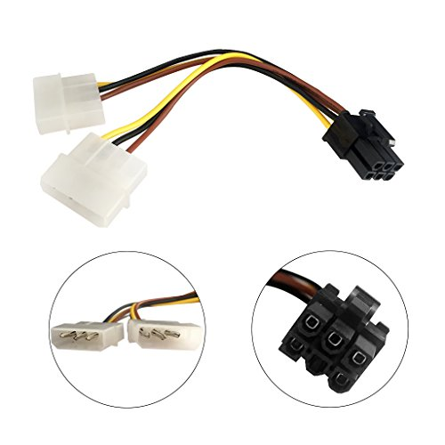 9daysminer 2-pack Dual 4 Pin Molex IDE to 6 Pin PCI Express Y Molex IDE Power Cable Adapter Connector (Male to Female) by 9daysminer (Image #1)