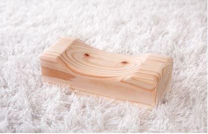 Natural Hinoki Cypress Rectangle Wooden Pillow ()