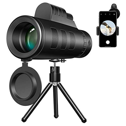 CMBro Monocular Telescope 40x60, High Power & HD Low Night Vision Waterproof BAK4 Prism Monocular, with Tripod Cell Phone Adapter Mount Holder and Compass for Bird Watching, Hunting, Camping, Hiking